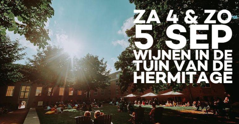 Flyer wijn in de Tuin Hermitage